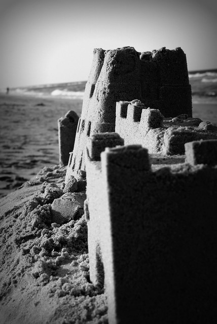 Sand Castle in Black and White