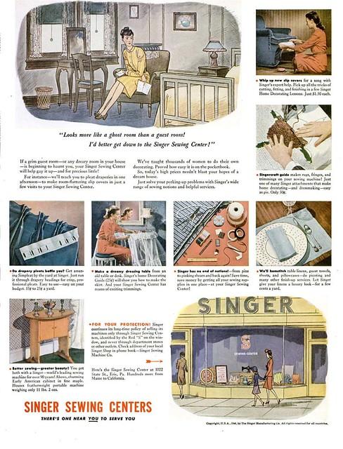 Singer Advertisement, LIFE magazine, September 16th 1946