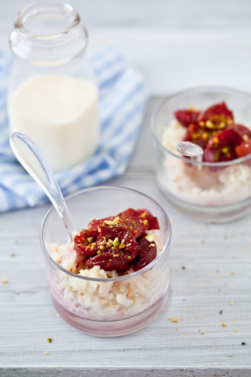 Roasted Plum & Creamy Flat Rice Pudding