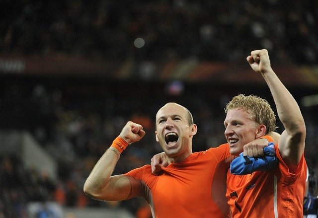 Holanda Uruguay Dirk Kuyt y Arjen Robben