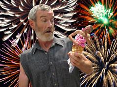 Defi self ~ IceCream ~ (~Archie's Bunker~) Tags: selfportrait photoshop fireworks multiplicity icecream canadaday independenceday bordeauxblackcherry