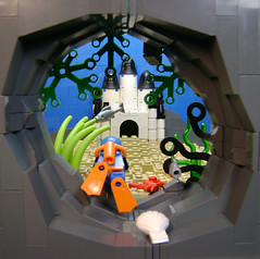 Checking nitrogen levels... (DARKspawn) Tags: sea castle water lego fig under perspective mini palace micro figure dio cave minifig cavern vignette diorama minifigure scubadiver vig collectableminifigure