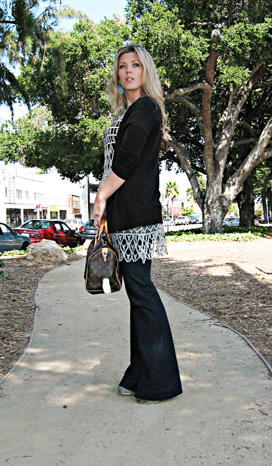 J Brand bell bottom lovestory jeans+white and warren crocheted dress+lv speedy bag
