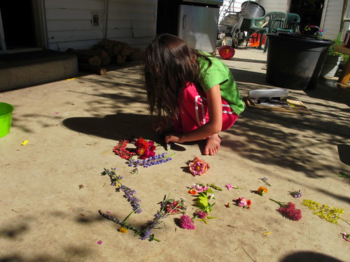 Lil' M working on her flower art