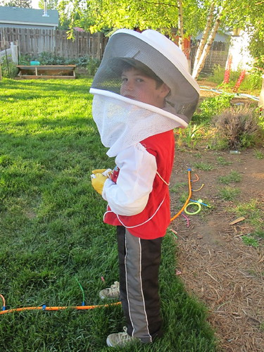 Junior Beekeeper #1 Suited up