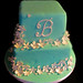 Tiffany blue white flower cake