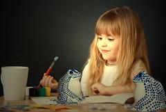 The painting of Elisa (jaci XIII) Tags: color art girl ink painting cores arte brush frog garota sapo menina tinta pincel pintura