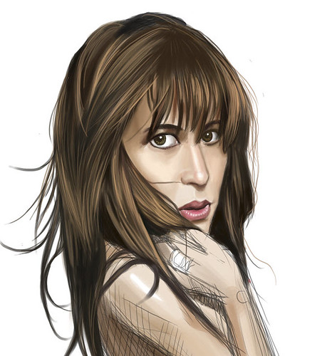 digital sketch of Sophie Marceau - 4 small