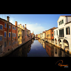 Chioggia (remography) Tags: city italien bridge blue summer sky italy color reflection water photo nikon wasser foto sommer himmel stadt utata blau brcke farbe reflexion chioggia coastaltown kleinvenedig d700