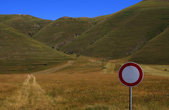 Rules (Massimo Valiani) Tags: red summer italy white man mountains nature path blu sony oppression rules hills stop access possible non massimo prohibition norcia sense castelluccio a350 valiani
