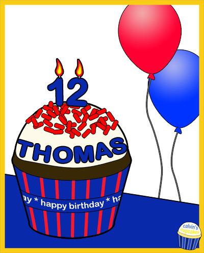 Thomas's 12th birthday cupcake