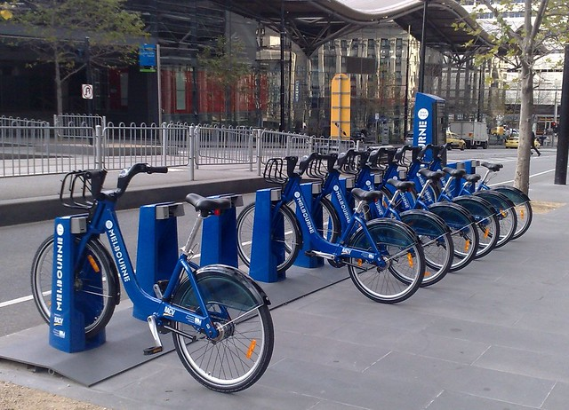 Bike share station outside Southern Cross Stn and Media House
