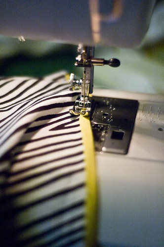 sewing on the bias tape