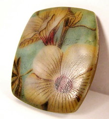 Buttercream Hibiscus on Aqua Pendant (Lynda Moseley Diva Designs Inc) Tags: floral aqua turquoise magenta fuschia hibiscus imagetransfer translucentclay polymerclayl imagetransferstopolymerclay
