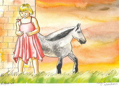 Waiting for the White Rabbit (Wasfi Akab) Tags: new pink sunset red sky people horse sun white black color cute rabbit art nature girl grass animal yellow clouds pencil watercolor paper landscape kid waiting artist dress artistic drawing alice iraq lewis blond painter wait carroll draw adventures exile wonderland geo iraqi middleast akab wasfi