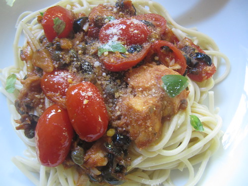 pasta w/ capers, olives, tuna, grape tomatoes