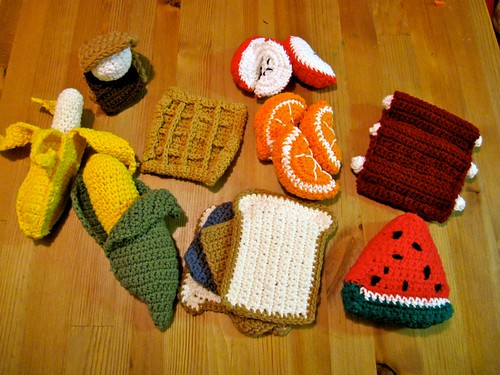 crocheted food