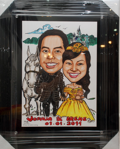 Wedding couple caricatures - knight & princess in A3 size black acrylic frame