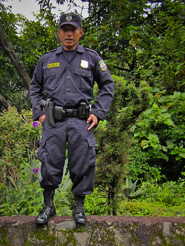 Los Volcanos NP 06 - One of our armed police escort on the trek