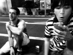 342/365: Hoot. Holla. (joyjwaller) Tags: boys hoot holla streetbeers street trashy adisgrace ithinkitwasagaijin gaijin thesenights chill blackandwhite project365 shinjukunichome tokyo japan