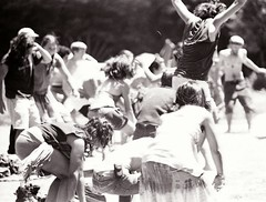 now everyone jump (cavale) Tags: people blackandwhite bw film yoga hippies rainbowgathering 35mm fun happy jump pennsylvania joy july celebration scanned canonae1 tmax400 celebrate leap crouch humans rainbowfamily alleghenynationalforest nationalrainbowgathering rainbowhippies