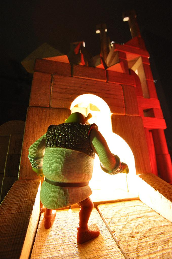 Shrek pauses at the gate