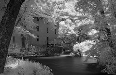 A View of Alley Mill (Uncle Phooey) Tags: red blackandwhite mill water rural ir spring alley scenic historic explore missouri infrared ozarks watermill gristmill grist alleyspring ruralmissouri alleymill southwestmissouri eminencemissouri unclephooey scenicmissouri