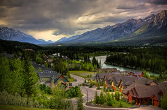 Mountain living (JoLoLog) Tags: canada mountains river alberta valley canmore hdr urbanlandscape lorien canadianrockies therockymountains canonxsi threesistersmountainvillage