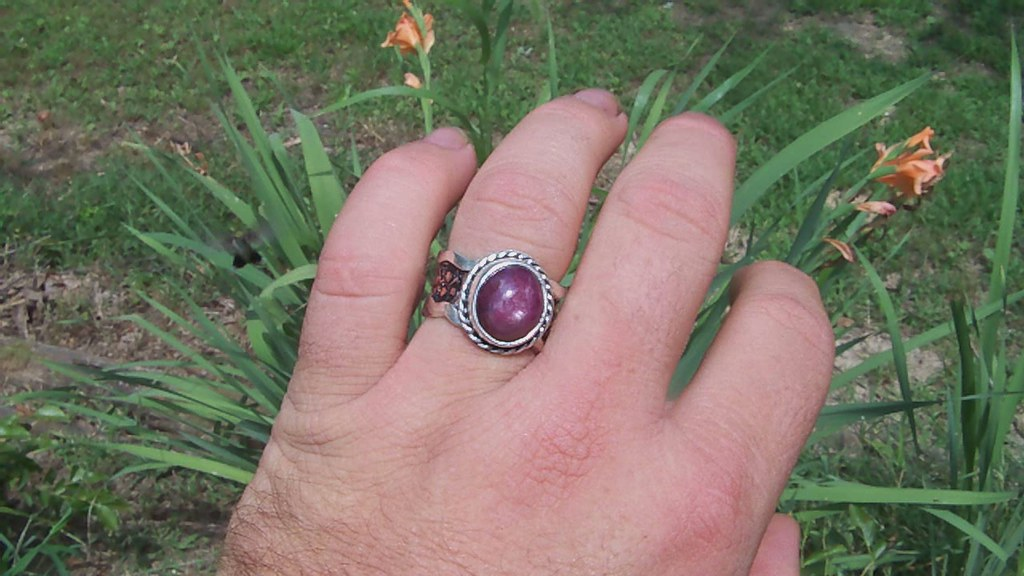 Abramelins ring of the Red dragon Star Ruby in a silver and copper setting