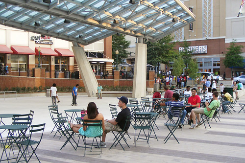 Tables and Skaters, Veterans Plaza