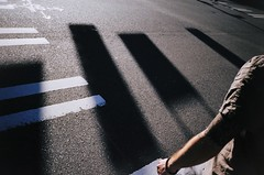 power-shadow-man (jon madison) Tags: seattle light shadow film gold downtown kodak 200 crosswalk 6157 newlight jonmadisoncom 61570004