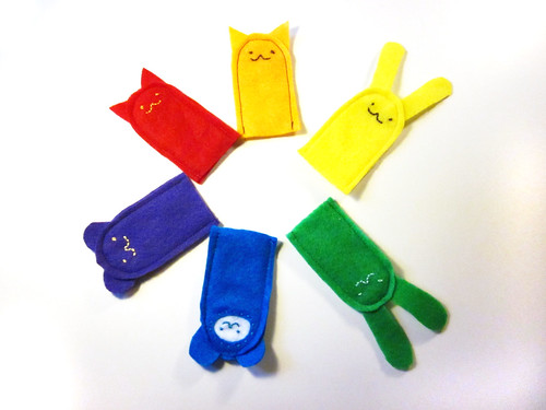 Finger puppets I made - rainbow collection.
