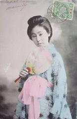geisha holding a paper fan (Maiko Child - Japan ladies) Tags: old japan fan maiko geisha postcards kimono