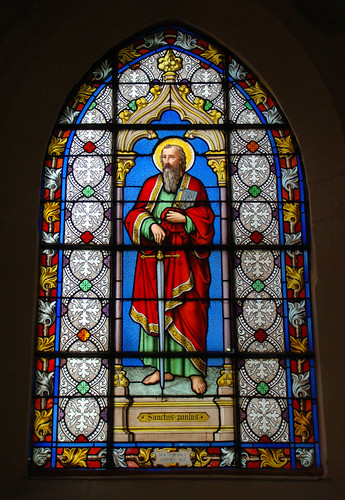 St. Paul - Stained glass window dated 1871 - Conflans-Sainte-Honorine dans immagini sacre 4854328431_2b1b879ef0