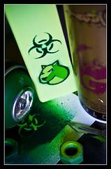 Biohazard... (LukeDaDuke) Tags: stencils green gold stencil montana paint canvas spraypaint blade aerosol biohazard stencilled lukedaduke montanagold