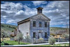 HDR #689 - Masonic Lodge and School House Circa 1874 (Pete's Photo Magic) Tags: usa psp montana pentax hdr topaz photomatix k20d