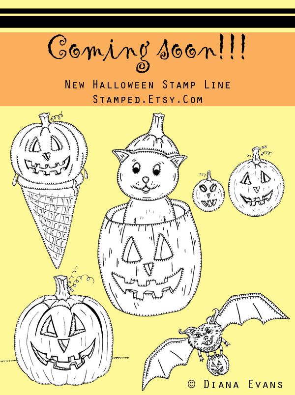 halloween stamps line