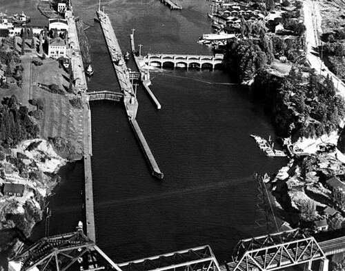 Hiram M. Chittenden Locks, Lake Washington Ship Canal aerial view, Seattle, Washington