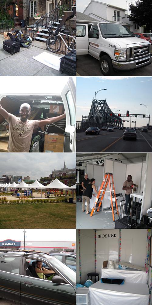 Le trajet Montréal-Québec et l'installation du stand à Plein Art