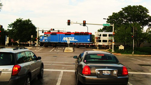 Northbound Metra evening express commuter train. Wilmette Illinois. Wednsday evening, August 4th, 2010. by Eddie from Chicago