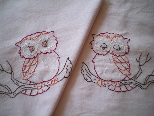 Vintage Owl Embroidered Pillowcases