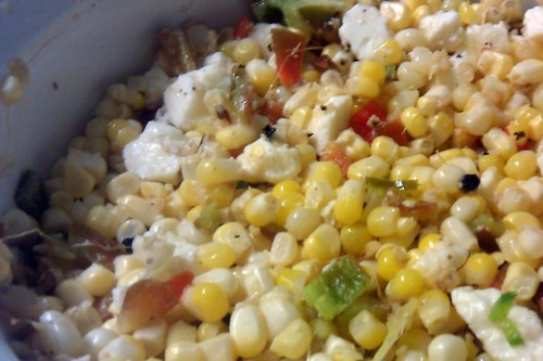 corn salad w feta & walnuts