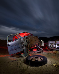 Sierra Materials (Lost America) Tags: lightpainting ford abandoned night clouds truck desert nevada fullmoon kincaid nocturnes