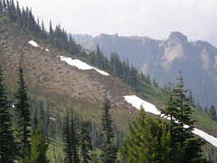 Views of remnant snow from Crystal Peak trail.