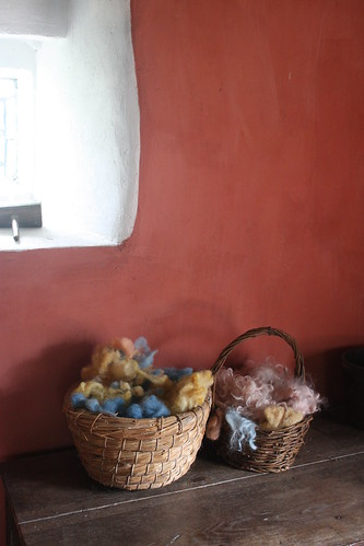 Baskets of dyed wool