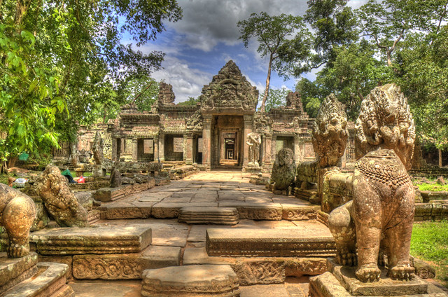 Angkor Wat Lined Path HDR