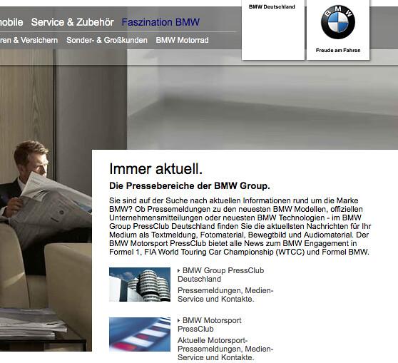 BMW Group ab sofort mit Facebook Page aber ohne Presseseiten