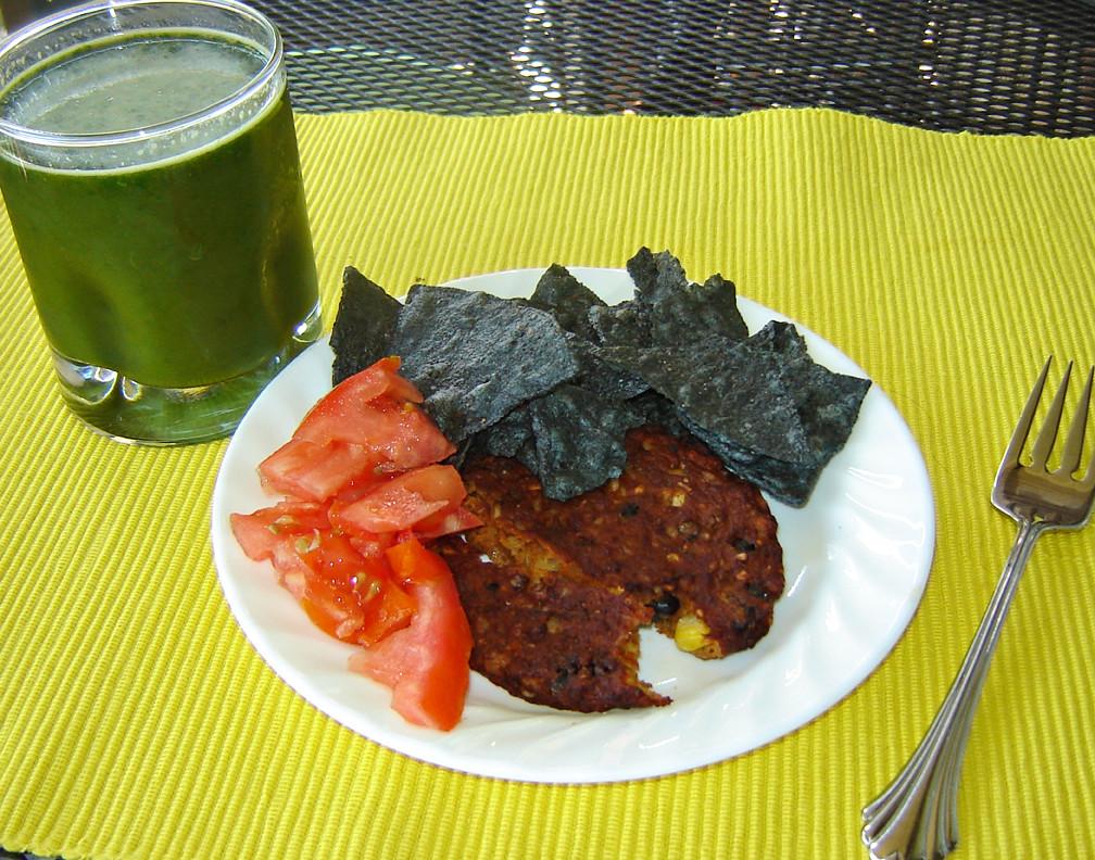 Veggie Burger & Organic Blue Corn Chips