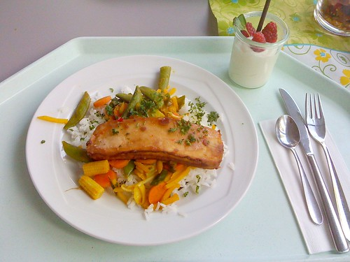 Marinierter Tofu mit Ingwer-Curry-Gemüse / Marinated tofu with ginger curry vegetables