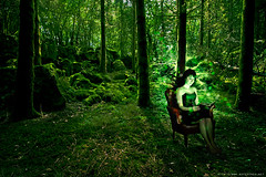 Lecture bucolique (never ends) Tags: trees light red woman france 20d nature forest canon rouge bokeh femme manipulation arbres fantasy montage lecture foret fauteuil greenvert bucolique strobist robenoire darkdress